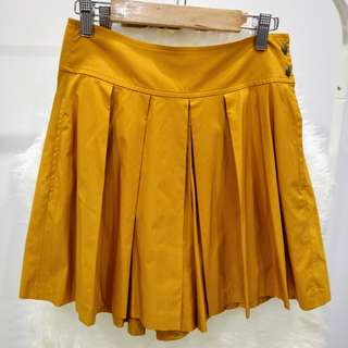 Uniqlo Yellow Orange Pleated Skirt Pants