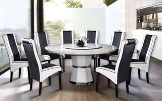 Offer raya marble 8 seats round Dining Table Set