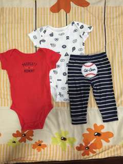 Preloved Carters Charater ALL STAR onesie set