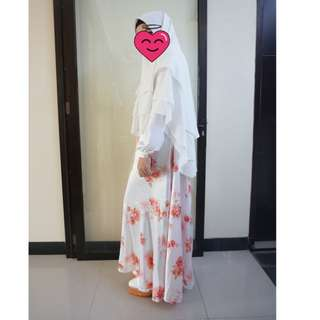 satu set syari exclusive bunga white