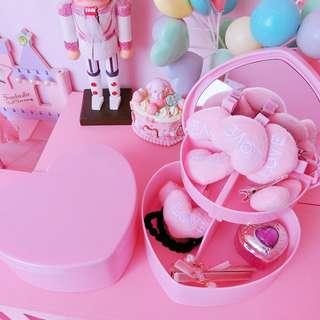 Heart Pastel Pink Make Up Storage Organizer Layered Box