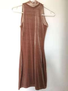 Missguided Mauve Velvet High Neck Dress