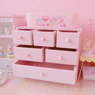 Cute Pastel Pink White Make Up Table Desk Organizer Storage