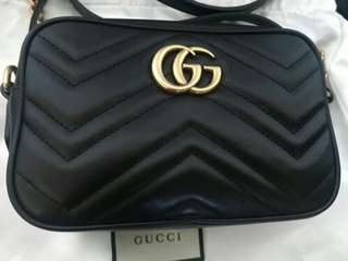 Gucci GG Marmont Matelassé Mini Cross Body Bag Black