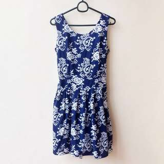 Paisley Babydoll Dress - Navy & White