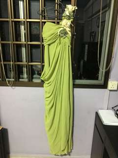 Green Floral Evening Gown