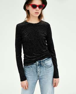 ZARA Black Velvet Top with Floral Design BNWT