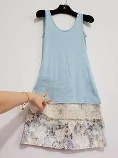 💎上衣+下衣💎💎 正韓 天空藍 蕾絲雕花特色下擺 長版背心上衣 + 水墨畫 彈性棉質 小A字 顯瘦 短裙