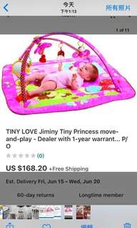 美國tiny love嬰兒寶寶粉紅公主健力架遊戲墊