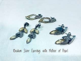 Rhodium Silver Earrings with Mother of Pearl