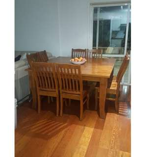 Timber Dining Room Table and Chairs