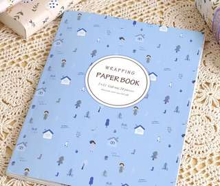 Sweet Village decorative wrapping paper book blue