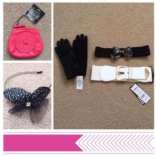 new with tags ladies accessories gloves coin purse belts