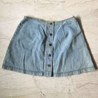 Vintage Denim A-line Button-front Skirt