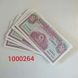 英國軍用鈔票 1 磅一叠