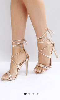 True Decadence Rose Gold Lace Up Heels