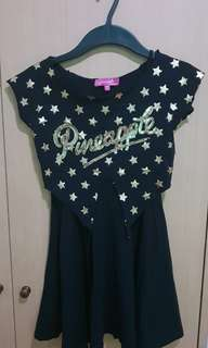 Girls Black Dress - Pineapple