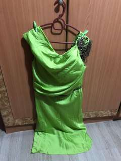 L Lime Satin Evening Gown