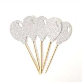 🎈Silver Glitter Balloon Birthday Cake Cupcake Toppers Topper Decoration Happy Party Bunting Balloons