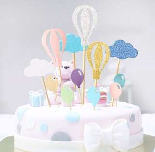 4 Colours* Hot Air Balloon Birthday Cake Cupcake Toppers Topper Decoration Happy Party Bunting