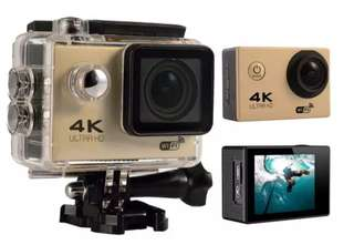 1🔥4K HD Wifi Action Camera 2.0 Inch 170 Degree Wide Angle Lens Action Camera WIFI 4k Waterproof Sports Action Camera (Gold)