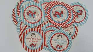 Aeroplane Airplane Birthday Party Sticker Supply