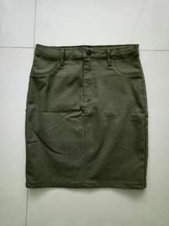 Temt Military Green A Line Skirt
