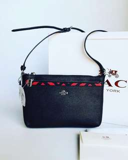 Coach F22251 Red Black Crossgrain Leather E/w Pop Crossbody