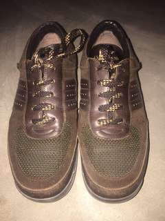 Authentic Louis Vuitton Leather/Suade Lace Up Sneakers