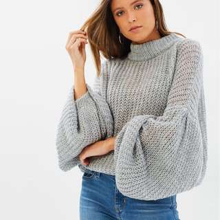 lioness jumper knit with balloon sleeve size XS/6/8