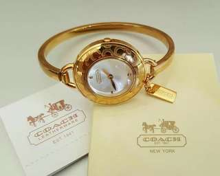 AUTHENTIC OVERRUN COACH WATCH BANGLES WITH CARDS, TAGS, BOX AND PAPERBAG