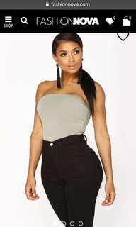 Fashion Nova Strapless Olive Green Bodysuit