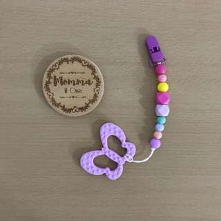 Silicone pacifier clip/ Teether clip + butterfly Teether
