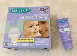 Lansinoh nursing pads and Lansinoh Lanolin cream