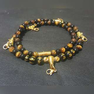 Sold  - Good Quality & Nice Black Onyx beads, Tiger Eye,  5 Hooks Necklace