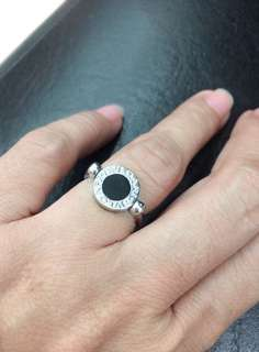 Authentic BVLGARI Flip 18kt. White Gold and Black Onyx with Pave Diamonds