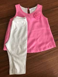Pink sleeveless set 3-6mos