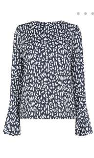 BNWT Warehouse Animal Print Flute Sleeves Top
