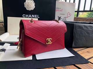 Chanel Chevron Zip Flap Bag