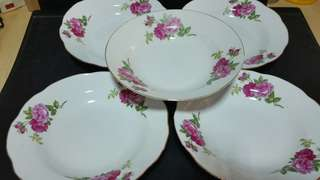 Beautiful Vintage Porcelain Deep Plate x 5pcs