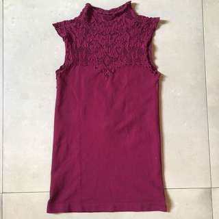 Forever 21 Maroon Knitted Lace Sleeveless Top