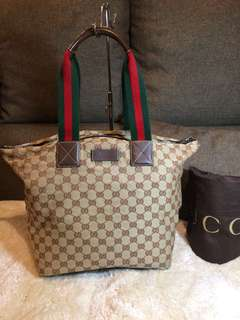 Authentic Gucci Canvas Tote Bag With Dustbag