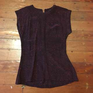 Saba maroon printed silk top