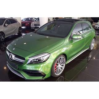 MERCEDES BENZ A45 2.0 AMG BI-TURBO 4-MATIC FACELIFT MODEL PANORAMIC ROOF HARMAN KARDON (A) RAYA OFFER