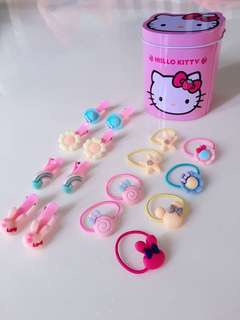 Hair clips and Rubber band set with Hello Kitty Storage Can