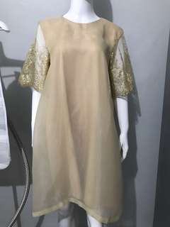 Gold brukat organza dress
