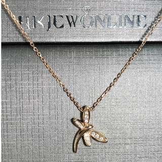 HKJ 18K玫瑰金鑽石頸鍊 - 蜻蜓