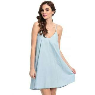 GLAMOROUS BLUE MIXED CAUAL DRESS FOR WOMEN