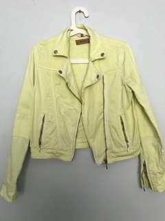 TOPSHOP MOTO Neon Yellow Denim Biker Jacket