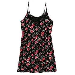 Forever21 Black/Pink Rayon Casual Dress for Women